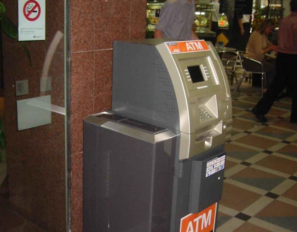 ATM with hidden bollard